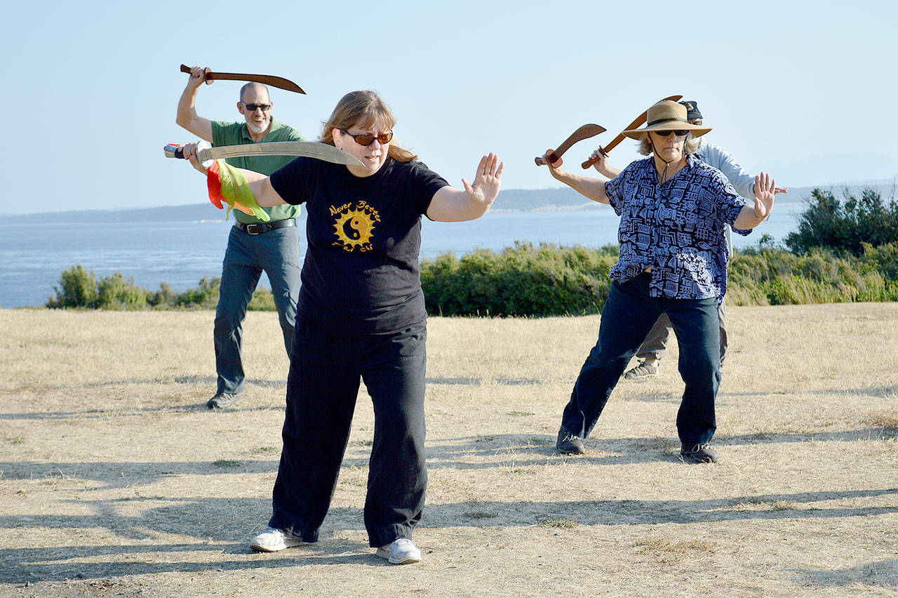 Lynne Donnelly, front, leads her advanced t'ai chi workshop in the saber form at Fort Casey. This is the first time she's done a larger outdoor class for the practice. Photo by Laura Guido/Whidbey News Group