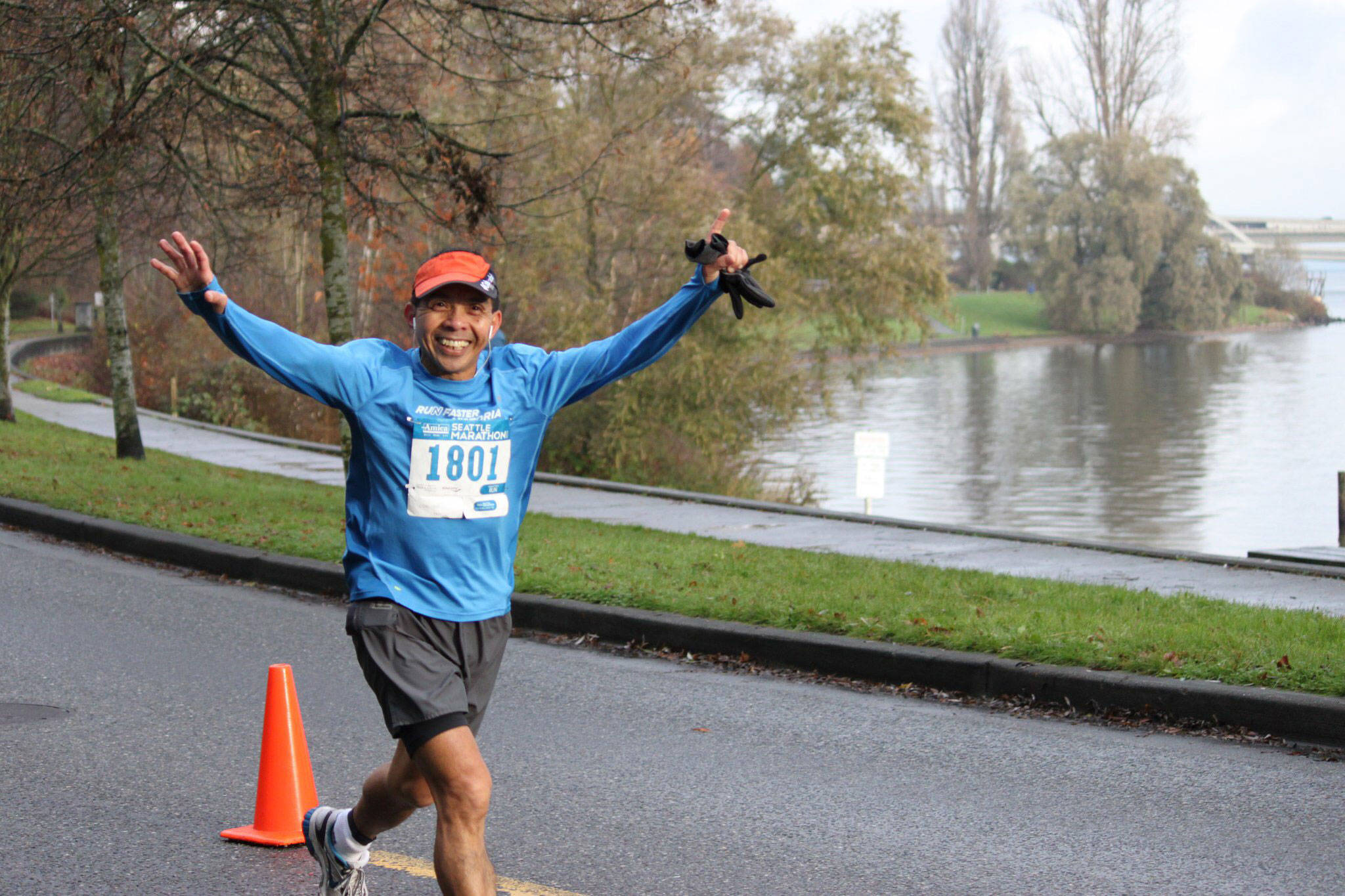Willy Mendoza happily runs the Seattle Marathon.(Submitted photo)